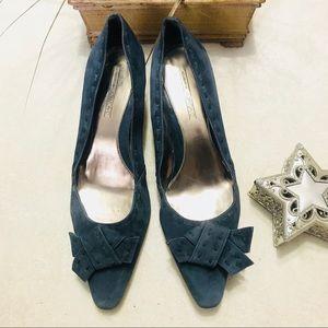 CIRCA Joan & David Blue Suede Bow Pointy Toe Heels